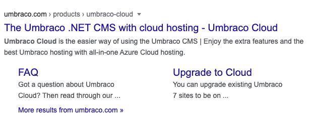 Umbraco Cloud SERP snippet in Google